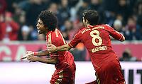 FUSSBALL   1. BUNDESLIGA  SAISON 2012/2013   13. Spieltag FC Bayern Muenchen - Hannover 96     24.11.2012 JUBEL nach dem TOR zum 4:0 , Dante mit Javi , Javier Martinez (v. li., FC Bayern Muenchen)