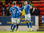 St Johnstone v Celtic...07.05.14    SPFL<br /> Michael O'Halloran celebrates his goal with David Wotherspoon and Nigel Hasselbaink<br /> Picture by Graeme Hart.<br /> Copyright Perthshire Picture Agency<br /> Tel: 01738 623350  Mobile: 07990 594431