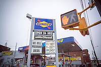 Prices at a Sunoco gas station in Brooklyn in New York on Sunday, January 17, 2016. With the price of crude oil dropping below $30 a gallon the national average gas price is $1.89. (© Richard B. Levine)