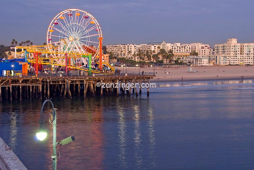 Santa Monica CA, Pacific Park Pier, Ferris Wheel, Roller Coaster, Loews Hotel