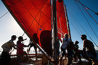Polynesian voyaging canoe, Hokule'a; training sail for Worldwide Voyage 2013 _ 8/9/12 Honolulu, Hawaii