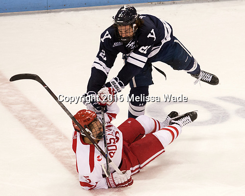 Chad Krys (BU - 5), John Hayden (Yale - 21) The Boston University Terriers defeated the visiting Yale University Bulldogs 5-2 on Tuesday, December 13, 2016, at the Agganis Arena in Boston, Massachusetts.