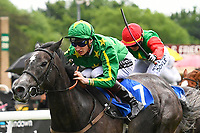 Winner of The British Stallion Studs EBF Fillies' Handicap, White Chocolate ridden by Daniel Muscott and trained by David Simcock during Afternoon Racing at Salisbury Racecourse on 18th May 2017