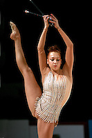 Natalya Godunko of Ukraine holds balance with clubs at 2007 Thiais Grand Prix near Paris, France on March 24, 2007.