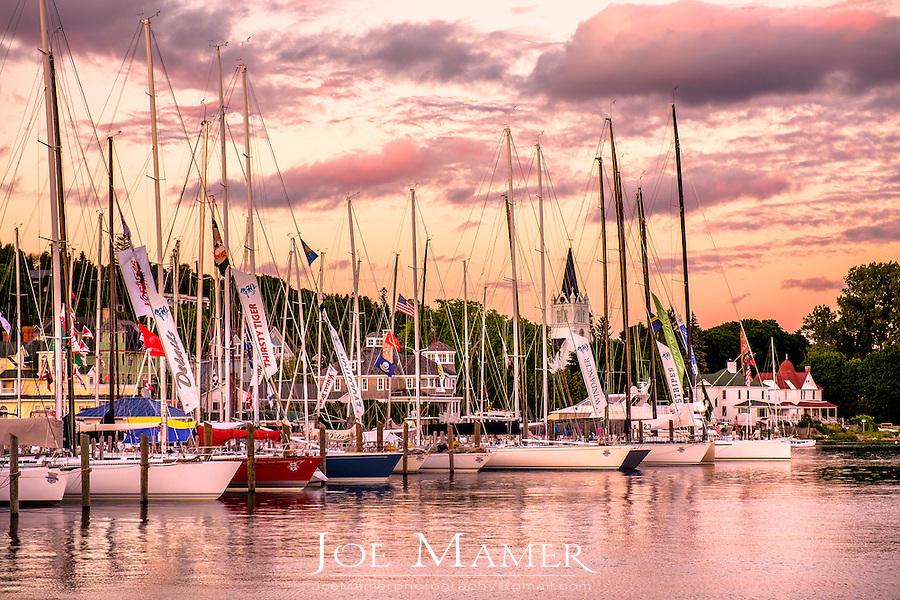 Sailboats fill the Mackinac Island marina after the 100th annual Bell's Bayview Mackinac race.