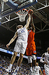 Forward Isaac Humphries blocks a shot during the game against the Florida Gators at Rupp Arena on February 6, 2016 in Lexington, Kentucky. Kentucky defeated Florida 80-61.