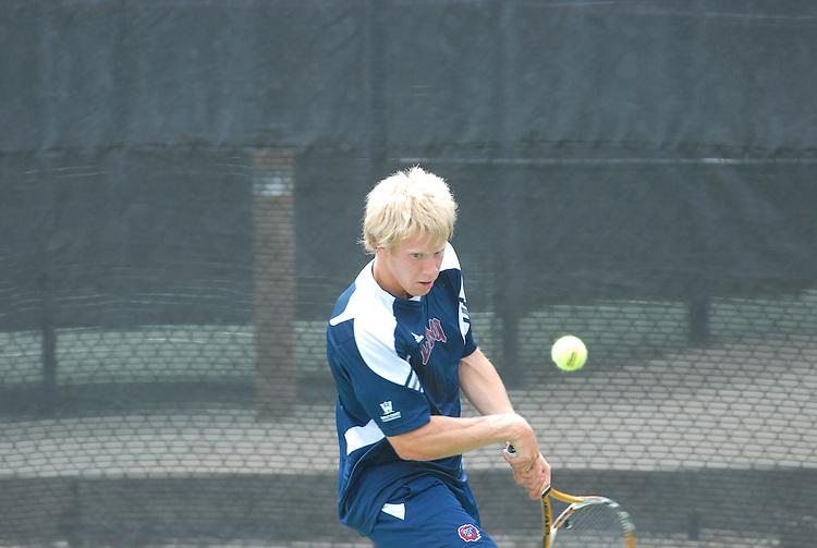 April 25, 2012; San Diego, CA, USA; Loyola Marymount Lions athlete Felix Van Kann during the WCC Tennis Championships at the Barnes Tennis Center.