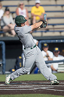 Eastern Michigan Eagles outfielder Mike Mioduszewski (15) follows through on his swing during the NCAA baseball game against the Michigan Wolverines on May 16, 2017 at Ray Fisher Stadium in Ann Arbor, Michigan. Michigan defeated Eastern Michigan 12-4. (Andrew Woolley/Four Seam Images)