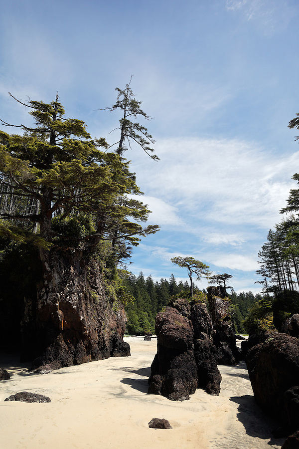 White sandy beach and rocky sea stacks, San Josef Bay, Cape Scott Provincial Park, Vancouver Island, Canada
