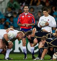 Rugby World Cup Auckland England v Scotland  Pool B 01/10/2011.  Opposing scrums England v Scotland  .Photo  Frey Fotosports International/AMN Images