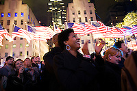 Rockefeller Center celebrates Barack Obama's US presidential election win with 349 electoral votes to John McCain's 162 electoral votes, New York, New York, November 4, 2008. 270 electoral votes determine a winner.