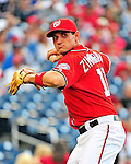 9 July 2011: Washington Nationals third baseman Ryan Zimmerman warms up prior to a game against the Colorado Rockies at Nationals Park in Washington, District of Columbia. The Nationals were edged out by the Rockies 2-1, dropping the second game of their 3-game series. Mandatory Credit: Ed Wolfstein Photo