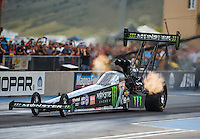 Jul 23, 2016; Morrison, CO, USA; NHRA top fuel driver Brittany Force during qualifying for the Mile High Nationals at Bandimere Speedway. Mandatory Credit: Mark J. Rebilas-USA TODAY Sports