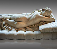 "Sleeping Hermaphroditus, The Borghese Hermaphrodite.  A Life size ancient 2nd century AD Roman statue sculpted in Greek Marble and found in the grounds of Santa Maria della Vittoria, near the Baths of Diocletian, Rome. It was added to the Borghese Collection by Cardinal Scipione Borghese, in the 17th century and was named the ""Borghese Hermaphroditus"". It was later sold to the occupying French and was removed it to The Louvre. Hermaphrodite, son of Hermes and Aphrodite had repels the advances of the nymph Salmacis. However, she got Zeus as their two bodies are united in a bisexual being. The Sleeping Hermaphroditus has been described as a good early Imperial Roman copy of a bronze original by the later of the two Hellenistic sculptors named Polycles (150 BC) the original bronze was mentioned in Pliny's Natural History. In 1619  Bernini sculpted the mattress on which the ancient marble of Hermaphrodite lies. Louvre Museum, Paris"