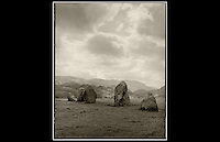 Castlerigg Stone Circle - Keswick - Cumbria - <br /> <br /> The stones are of a local metamorphic slate, set in a flattened circle, measuring 32.6 m at its widest and 29.5 m at its narrowest. The heaviest stone has been estimated to weigh around 16 tons and the tallest stone measures approximately 2.3m high. <br />   <br /> The circle was probably constructed around 3200 BC, making it one of the earliest stone circles in Britain and possibly in Europe