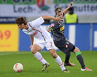 FUSSBALL   1. BUNDESLIGA  SAISON 2012/2013   13. Spieltag FC Augsburg - Borussia Moenchengladbach           25.11.2012 Koo Ja Cheol  (li, FC Augsburg) gegen Thorben Marx (Borussia Moenchengladbach)