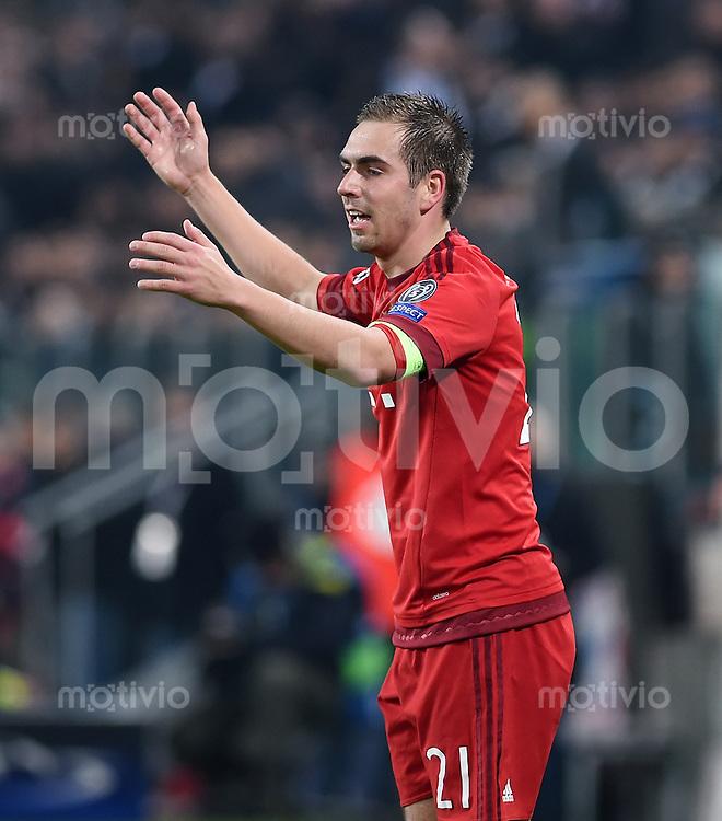 FUSSBALL CHAMPIONS LEAGUE  SAISON 2015/2016 ACHTELFINAL HINSPIEL Juventus Turin - FC Bayern Muenchen             23.02.2016 Philipp Lahm (FC Bayern Muenchen)