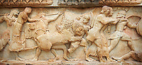 Treasury of Siphnos. Detail of North Frieze depicting the battle between the gods and the Giants. 525 B.C.  Delphi Archaeological Museum.