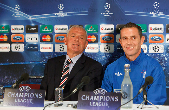 Walter Smith and David Weir in good form at Old Trafford for the Champions League Press Conference