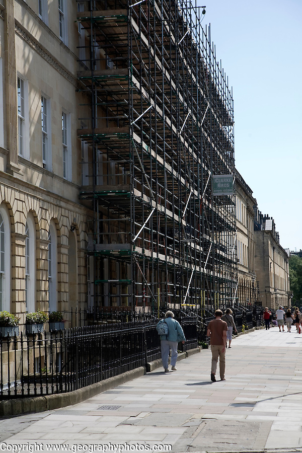 Georgian building on Great Pulteney Street covered in scaffolding undergoing restoration, Bath, Somerset, England