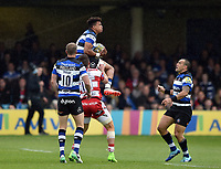 Anthony Watson of Bath Rugby claims the ball in the air. Aviva Premiership match, between Bath Rugby and Gloucester Rugby on April 30, 2017 at the Recreation Ground in Bath, England. Photo by: Patrick Khachfe / Onside Images