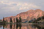 Evening alpenglow on Silver Peak, above Upper Kinney Lake, Toiyabe National Forest, California