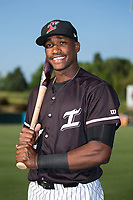 Kannapolis Intimidators outfielder Micker Adolfo (27) poses for a photo prior to the game against the Hickory Crawdads at Kannapolis Intimidators Stadium on May 18, 2017 in Kannapolis, North Carolina.  The Crawdads defeated the Intimidators 6-4.  (Brian Westerholt/Four Seam Images)