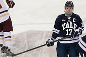 Andrew Miller (Yale - 17) - The Boston College Eagles tied the visiting Yale University Bulldogs 3-3 on Friday, January 4, 2013, at Kelley Rink in Conte Forum in Chestnut Hill, Massachusetts.