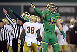 (Boston, MA, 11/21/15) Notre Dame's Chase Hounshell (18) celebrates after the Fighting Irish recovered a ball fumbled by Boston College on a punt during the second quarter as Notre Dame hosts Boston College at Fenway Park in Boston on Saturday, November 21, 2015. Photo by Christopher Evans