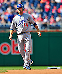 25 April 2010: Los Angeles Dodgers' infielder Jamey Carroll on the basepath as a pinch runner in the 9th inning of a game against the Washington Nationals at Nationals Park in Washington, DC. The Nationals shut out the Dodgers 1-0 to take the rubber match of their 3-game series. Mandatory Credit: Ed Wolfstein Photo