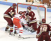 Brian Dumoulin (BC - 2), Joe Pereira (BU - 6), John Muse (BC - 1), Patch Alber (BC - 27) - The visiting Boston College Eagles defeated the Boston University Terriers 3-2 to sweep their Hockey East series on Friday, January 21, 2011, at Agganis Arena in Boston, Massachusetts.