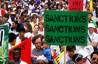 A protest rally in London calling for tougher sanctions against the apartheid regime in South Africa.
