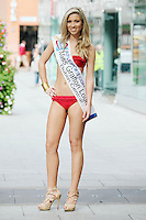 17/9/2010. Miss Ireland contestants. Miss Grafton Lounge Aine Moore is pictured at St Stephens Green. the 35 Miss Ireland contestants officially unveiled in their swimwear and sashes for the 1st time at Stephen's Green Shopping Centre,  Dublin. Picture James Horan/Collins Photos