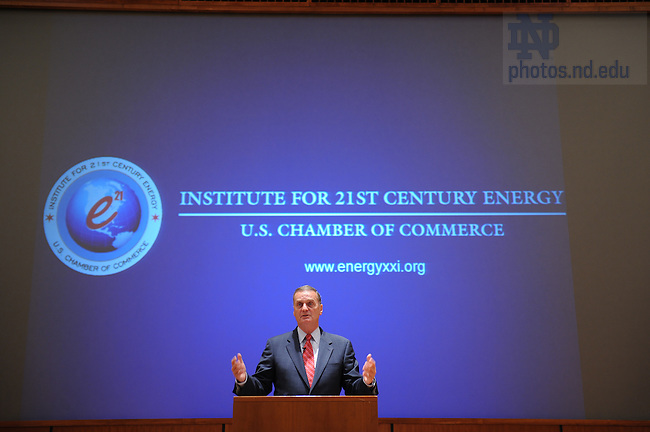 General James Jones, President and CEO, U.S. Chamber Institute for 21st Century Energy, speaks at Jordan Auditorium in the Mendoza College of Business for the Ten Years Hence lecture series.