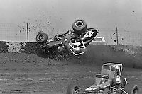 Frame #1 of Gary Bettenhausen's crash during a 1977 USAC race at Eldora Speedway near Rossburg, Ohio.