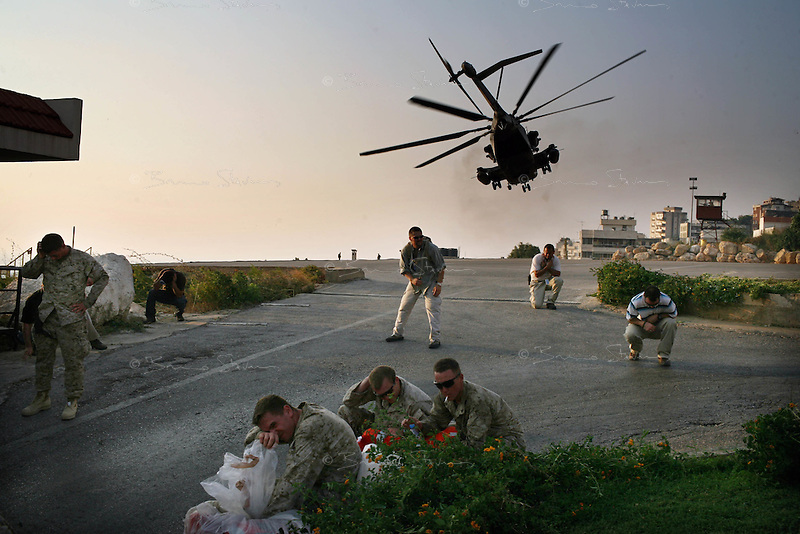 Beirut, Lebanon, July 18 2006.The US are starting to evacuate some 5000 of their estimated 15000 nationals still blocked inside besieged Lebanon..On July 18, 120 'priority' cases were airlifted to Cyprus aboard US Marines CH53 helicopters.