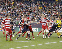 Players get into position for a ball coming in from a corner kick.  The New England Revolution drew FC Dallas 1-1, at Gillette Stadium on May 1, 2010