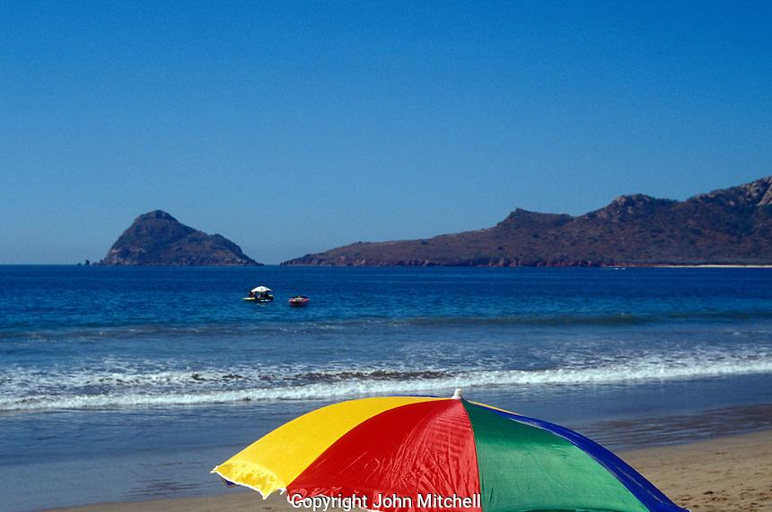 Colourful beach umbrella in Mazatlan, Sinaloa, Mexico