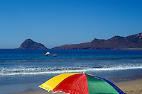 Colourful beach umbrella in Mazatlan, Sinaloa, Mexico