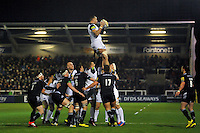 Dominic Day of Bath Rugby wins the ball at a lineout. Aviva Premiership match, between Newcastle Falcons and Bath Rugby on January 2, 2016 at Kingston Park in Newcastle upon Tyne, England. Photo by: Patrick Khachfe / Onside Images