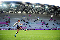 George Ford of Bath Rugby practises his kicking during the pre-match warm-up. European Rugby Challenge Cup Semi Final, between Stade Francais and Bath Rugby on April 23, 2017 at the Stade Jean-Bouin in Paris, France. Photo by: Patrick Khachfe / Onside Images