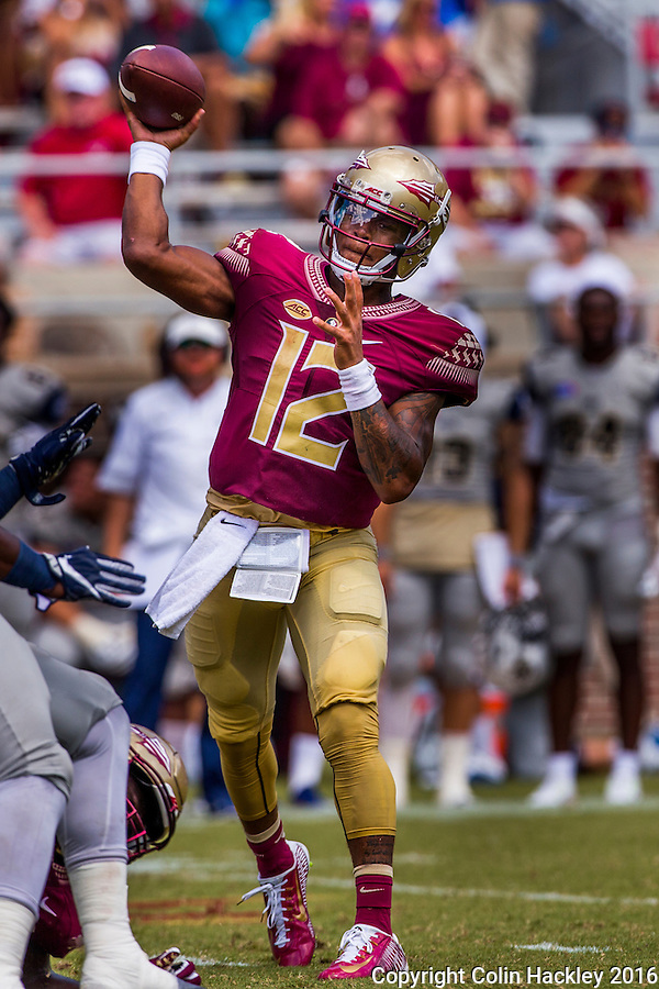 TALLAHASSEE, FLA 9/10/16-Florida State quarterback Deondre Francois throws during third quarter action against Charleston Southern, Saturday at Doak Campbell Stadium in Tallahassee. <br /> COLIN HACKLEY PHOTO
