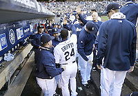 04 October 2009: Seattle Mariners designated hitter Ken Griffey Jr high fives teammates after he collected a single in his last at bat of the game against Texas. Seattle won 4-3 over the Texas Rangers at Safeco Field in Seattle, Washington.