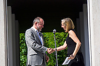 Venice, Italy - 15th Architecture Biennale 2016, &quot;Reporting from the Front&quot;.<br /> Austrian Pavilion. Opening of &quot;Places for People&quot;.<br /> Austrian Minister of Culture Mag. Thomas Drozda with Comissioner Elke Delugan-Meissl.