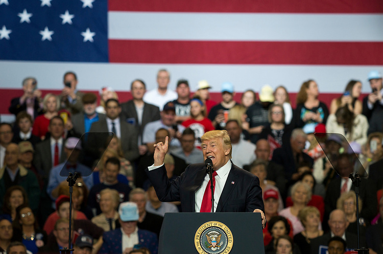 UNITED STATES - MARCH 20: President Donald Trump holds a rally  at Freedom Hall in Louisville, Ky. on Monday, March 20, 2017. (Photo By George LeVines/CQ Roll Call)