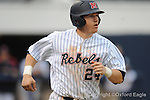 Ole Miss' Miles Hamblin watches his home run vs. Louisiana-Monroe at Oxford-University Stadium in Oxford, Miss. on Sunday, February 21, 2010.