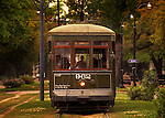 The St. Charles Streetcar rides along the tracks in the Garden District section of New Orleans.  The steetcars have been declared moving national historic landmarks.