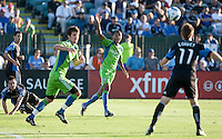 James Riley (center) asks for the call. The Seattle Sounders defeated the San Jose Earthquakes 1-0 in the second annual Heritage Cup at Buckshaw Stadium in Santa Clara, California on July 31st, 2010.