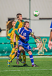 28 September 2013: Hartwick College Hawk Defenseman Will Broomfield, a Senior from Brighton, England, in action against the University of Vermont Catamounts at Virtue Field in Burlington, Vermont. The Catamounts shut out the visiting Hawks 1-0. Mandatory Credit: Ed Wolfstein Photo *** RAW (NEF) Image File Available ***
