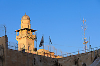 A minaret next to the Temple Mount and Western Wall in the Old City of Jerusalem.